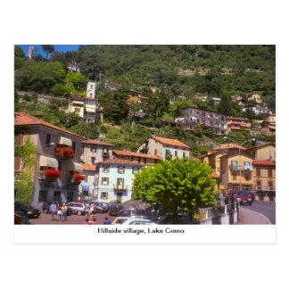 丘の中腹にある村、湖Como ポストカード