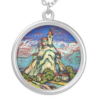 丘の城のファンタジー シルバープレートネックレス