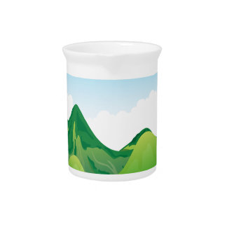 丘の背景との自然場面 ピッチャー