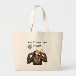 丘の誕生日にわたるおもしろいなチンパンジー ラージトートバッグ