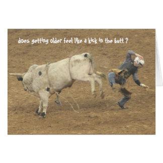 丘の誕生日にわたるおもしろいなロデオ、Bullのライダー カード