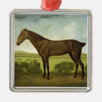 丘陵性の景色のブラウンの馬、c.1780-1800 (油 メタルオーナメント