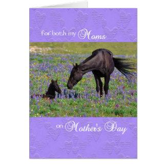両方のお母さんのための母の日カード-子馬を持つロバ グリーティングカード