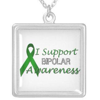 両極認識度の緑のリボンの純銀のネックレス シルバープレートネックレス