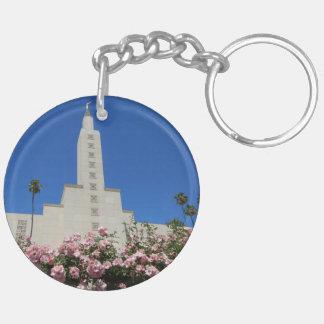 (両面の) KeychainのLAの寺院のバラを一周して下さい キーホルダー