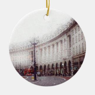 両面ロンドンのクリスマス セラミックオーナメント