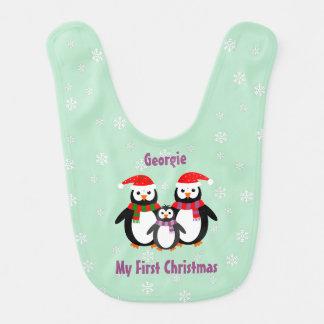 両面初めてのクリスマスは一流のペンギンのティール(緑がかった色)を加えます ベビービブ