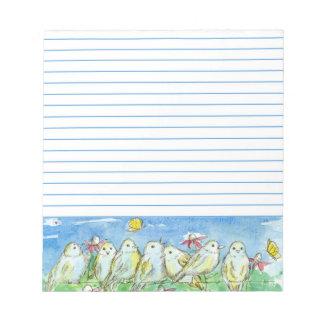 並ぶ鳥分野の塀の蝶花草原 ノートパッド