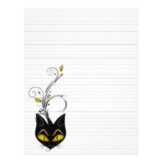"""並べられたつなぎの紙8.5"""" x11""""黒猫の固体黒 チラシ"""