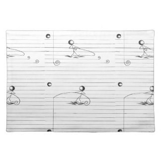 並べられた紙の棒の姿の漫画のスケッチ ランチョンマット