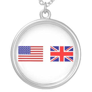 並んでイギリス及び米国の旗 シルバープレートネックレス