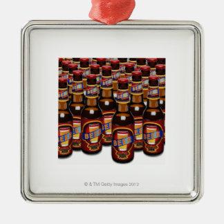 並んでビールのボトル(デジタル合成物) メタルオーナメント
