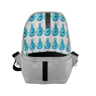 中カスタムなメッセンジャーバッグwの青いパイナップルプリント クーリエバッグ