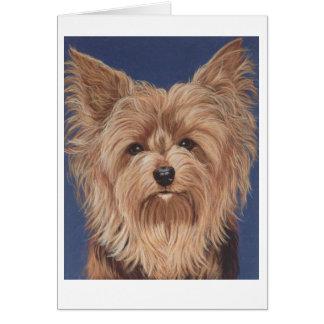 中ヨークシャーテリア犬のメッセージカードのブランク カード