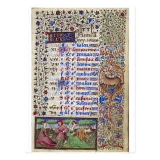 中世カレンダー: 4月 ポストカード