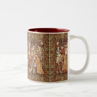 中世タペストリーのコーヒー・マグ ツートーンマグカップ