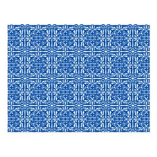 中世ダマスク織のアヤメ、コバルトブルー ポストカード