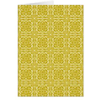中世ダマスク織のアヤメ、マスタードの金ゴールド カード
