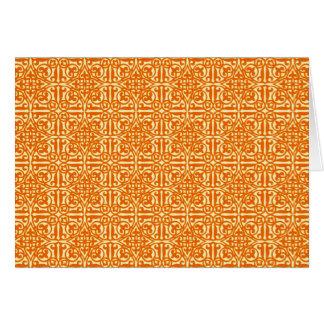 中世ダマスク織のアヤメ、マンダリンオレンジ カード