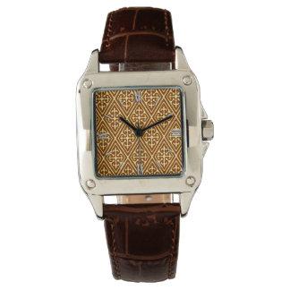 中世ダマスク織のダイヤモンド、銅およびクリーム 腕時計