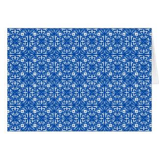 中世ダマスク織パターン、コバルトブルー カード