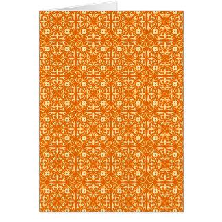 中世ダマスク織パターン、マンダリンオレンジ カード