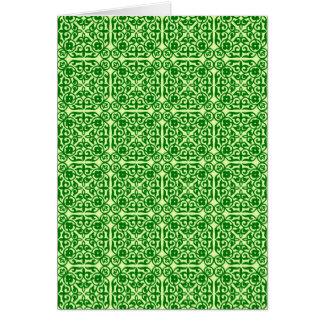 中世ダマスク織パターン、暗いマツ緑 カード