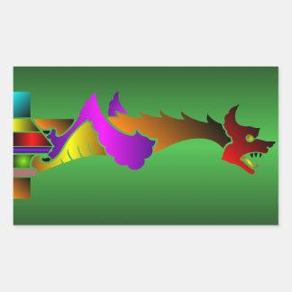 中世ドラゴンのガーゴイルのステッカー 長方形シール