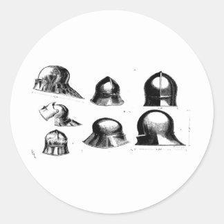 中世ヘルメット25 丸形シールステッカー