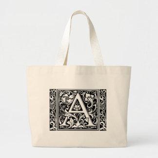 中世モノグラムのヴィンテージのイニシャルに広く文字を入れて下さい ラージトートバッグ