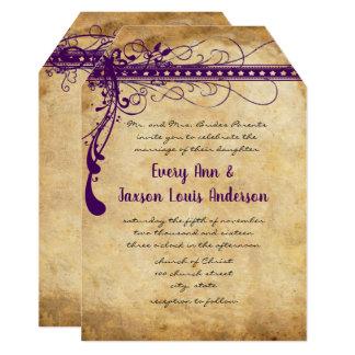 中世ルネサンスの紫色の模造のな羊皮紙 カード