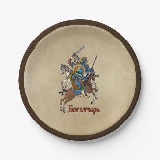 中世ロシア語Bogatyr ペーパープレート