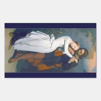 中世ロマンスのカップル 長方形シール