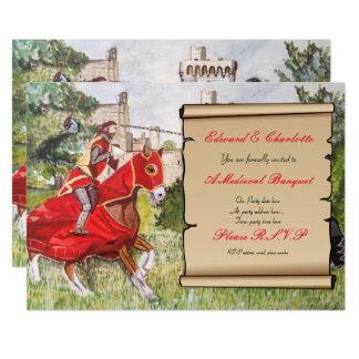 中世宴会の招待状の馬上槍試合の馬 12.7 X 17.8 インビテーションカード