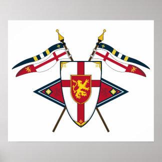 中世盾および旗カード ポスター