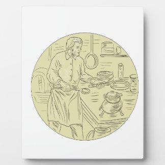 中世調理師の台所楕円形のスケッチ フォトプラーク
