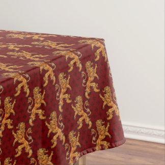 中世金ゴールドのライオンの赤の(紋章の)フラ・ダ・リ テーブルクロス