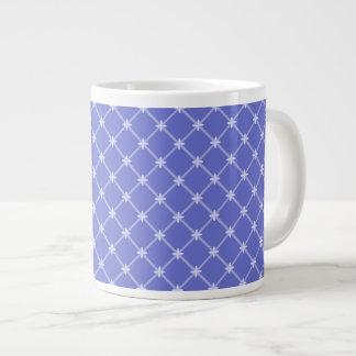 中世青い斜めパターン ジャンボコーヒーマグカップ