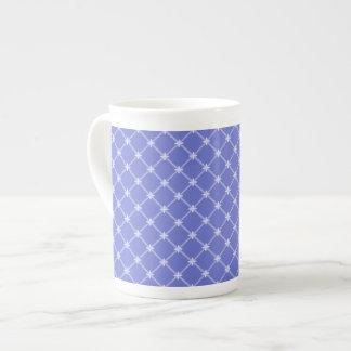 中世青い斜めパターン ボーンチャイナカップ