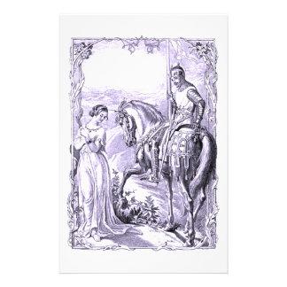 中世騎士および女性 便箋