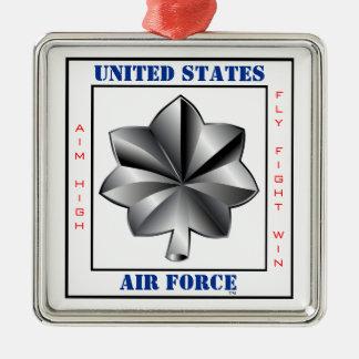 中佐O-5空軍海兵隊中佐スローガン シルバーカラー正方形オーナメント