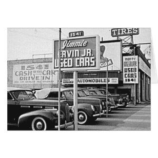 中古車のロットのヴィンテージハリウッドカリフォルニア カード