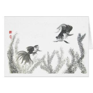 中国ので幸運な金魚の空白のなカード カード