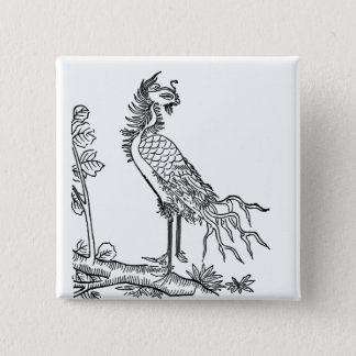 中国ので幸運な鳥Luan 5.1cm 正方形バッジ