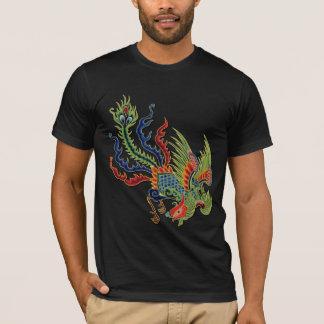 中国ので豊かな孔雀の入れ墨 Tシャツ