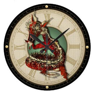 中国ので赤いドラゴンの柱時計 ラージ壁時計