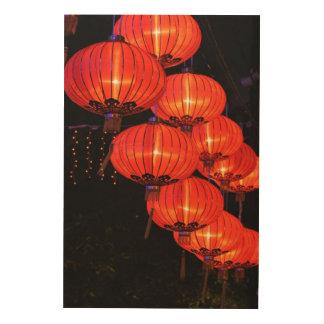 中国ので赤いランタン ウッドウォールアート