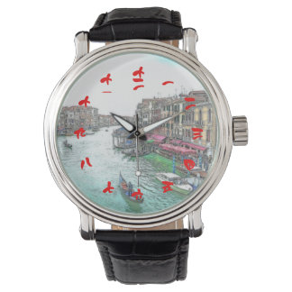 中国ので赤い数字の美しいベニスイタリア 腕時計