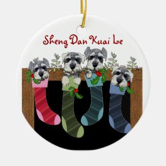 中国のなクリスマスのシュナウツァーのオーナメント セラミックオーナメント