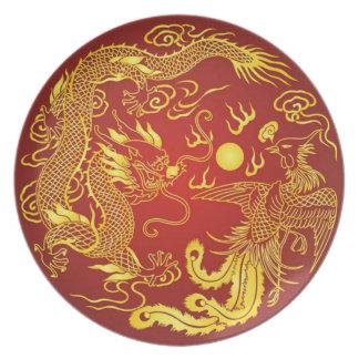 中国のなドラゴンのフェニックスの赤い金ゴールドのヴィンテージのプレート プレート